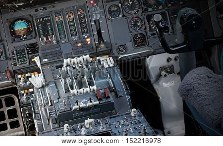 Center Console And Throttles In Airplane