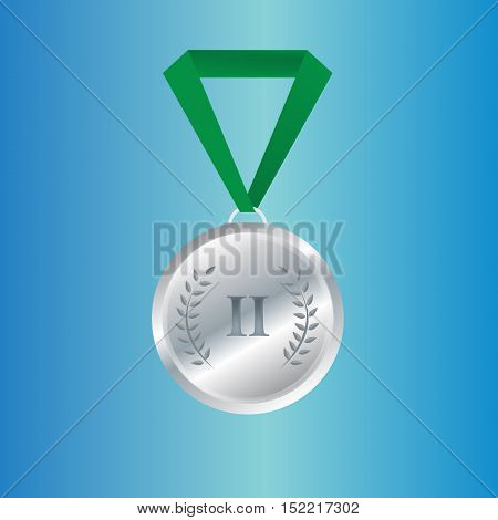 Champion silver medal with ribbon on white background