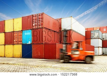 Container terminal under blue sky Motion Blur forklift.