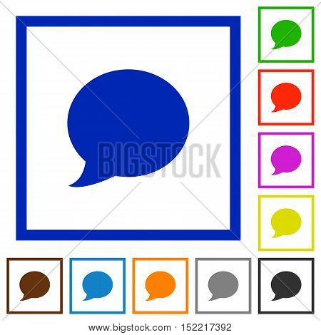 Set of color square framed blog comment flat icons