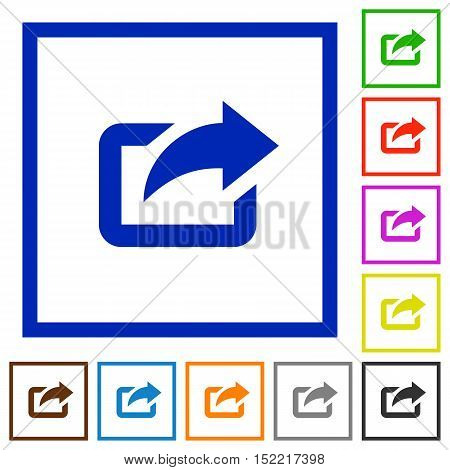 Set of color square framed export flat icons