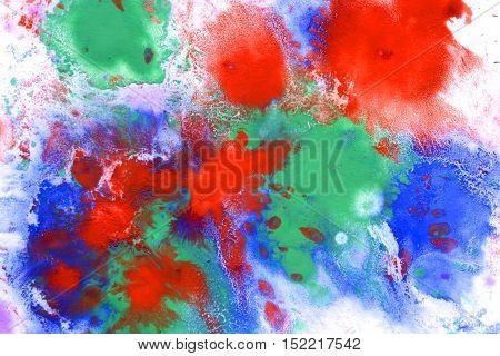 Red blue green spray melt, vaporize on white paper