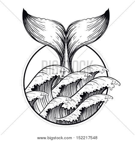 Whale tail in sea waves, boho blackwork tattoo. Ocean line art drawing. Vector illustration, nautical symbol, tattoo design, sketch isolated on white for t-shirt print, poster, textile.