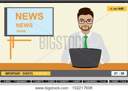news anchor man header TV, stock vector illustration