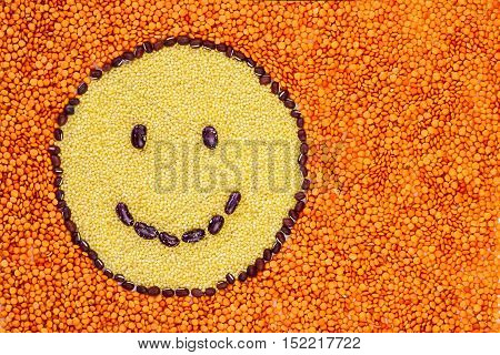 Smiley Face Made Of Legumes