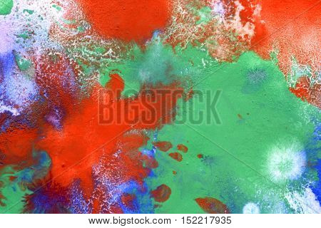 red drops, blue green spots on the surface close up