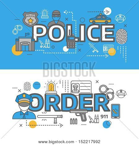 Two color line horizontal police banner set with police and order descriptions vector illustration