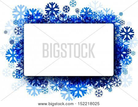 White winter rectangular background with blue snowflakes. Vector illustration.