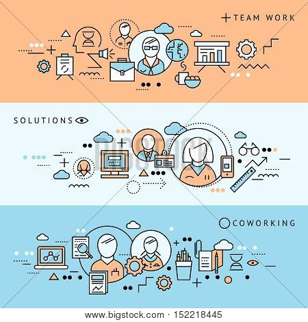 Three colored line horizontal coworking banner set with team work solutions descriptions vector illustration