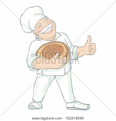 Flat isolated drawn image of cheerful baker character in white uniform with hat bread and thumbs up vector illustration