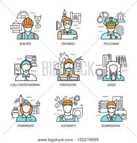 Professions avatars line concept with isolated icon set about builder engineer policeman judge stewardess and others vector illustration