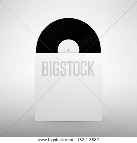 Realistic vinyl in sleeve mock up. Vinyl Record with Cover Mockup. Vector illustration.