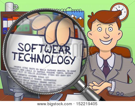 Softwear Technology through Magnifier. Businessman Holds Out a Text on Paper. Closeup View. Multicolor Doodle Style Illustration.