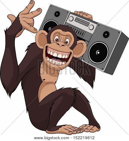 Vector illustration funny chimpanzee with a tape recorder