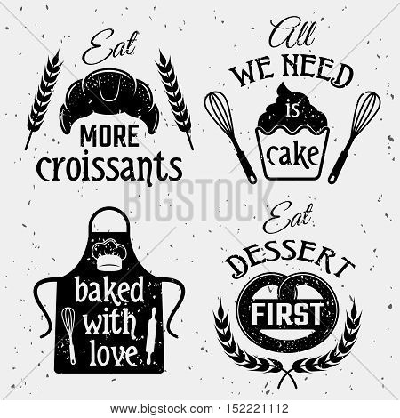 Bakery with quotes monochrome set including typographic sayings pastry culinary tools on texture background isolated vector illustration
