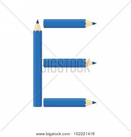 Color Wooden Pencils Concept By Rearrange The Letters E