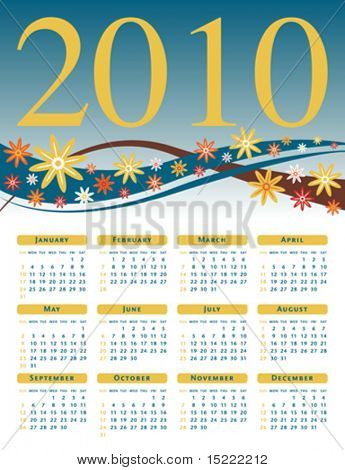 Colorful flower calendar for 2010.