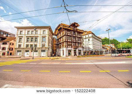 Lucerne, Switzerland - June 27, 2016: Street view with ancient half-timbered house in Lucerne city in Switzerland