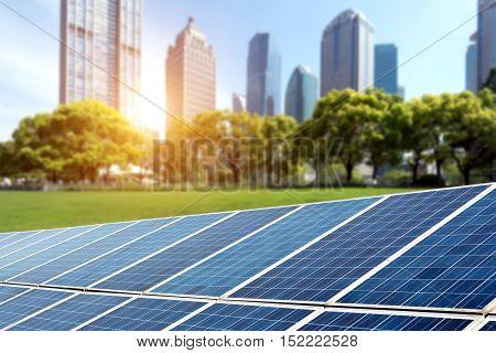 Shanghai Bund skyline landmark Ecological energy renewable solar panel plant