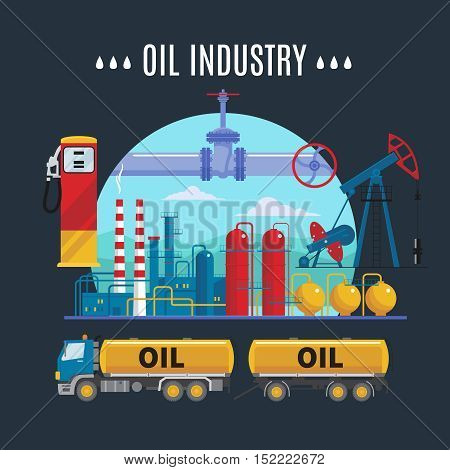 Oil industry composition with truck factory and rigs pipeline and fuel station on black background vector illustration