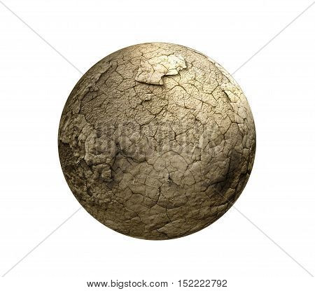 Concept of global warming . Dry Earth in space. Sunset civilization. Isolated on white background.