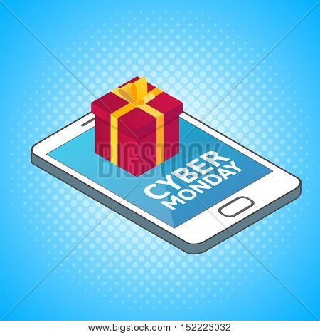 Cyber Monday background. Isometric smartphone with red gift box. Online shopping concept. Sale e-commerce retailing discount theme. Modern blue vector logo. Creative flyer poster template.