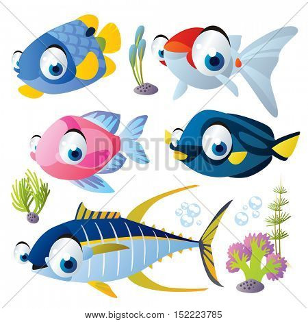 cute vector cartoon fish collection. colorful illustrations of sea life animals. tuna, goldfish