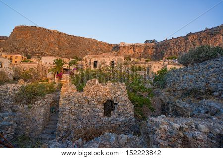 The beautiful Byzantine castle town of Monemvasia in Laconia Peloponnese - Greece.