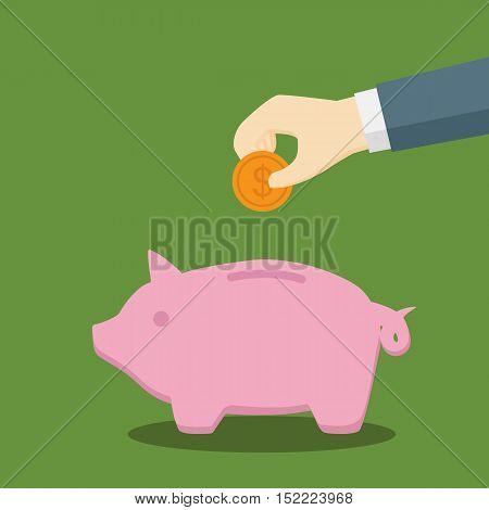 Businessman Saving A Dollar Coin in A Pig Moneybox