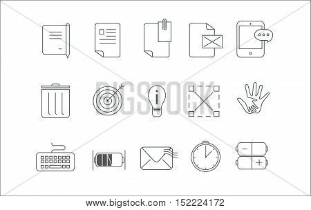 Simple icon set fifteen icons for communication , messages , letters also can be used in many other ways.