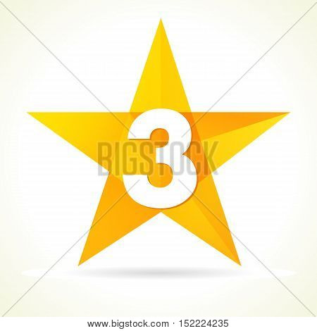 Number three star logo. Vector sign Number Three
