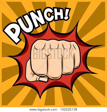 Fist punching illustration in pop-art style. Vector placard.