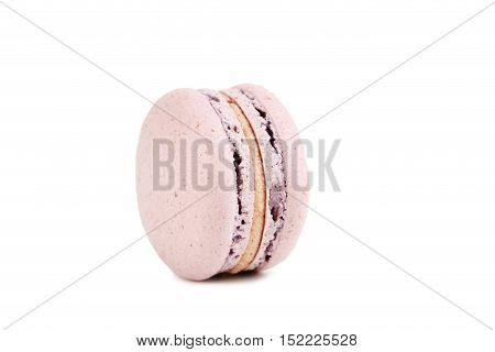 French Pink Macaron Isolated On A White