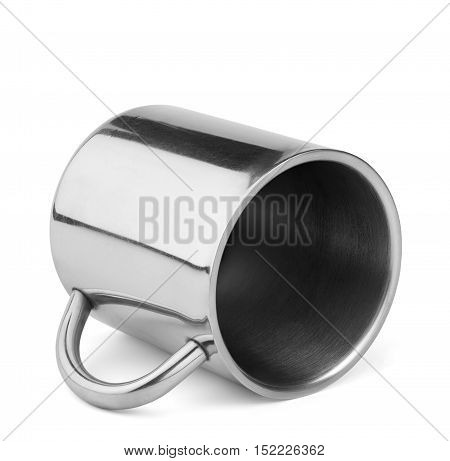 Shiny stainless steel travel thermo cup with handle lay isolated on white background