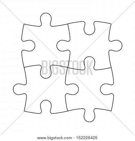 Solved jigsaw puzzle of four pieces. Team cooperation, teamwork or solution business theme. Simple flat vector illustration with black outline on white background.
