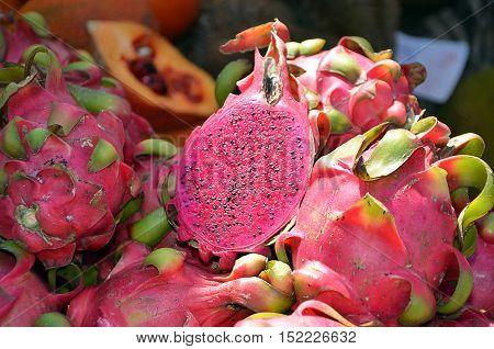 Ripe Cross Section Pitaya Tropical Fruit Detail Photography