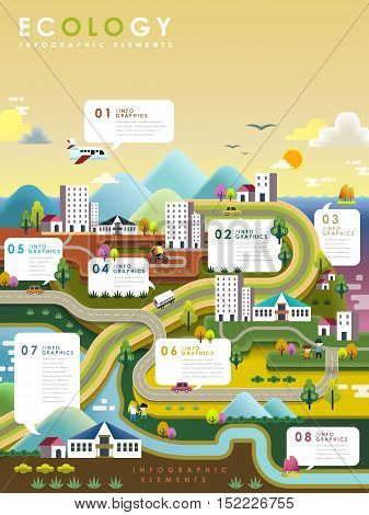 Lovely ecology flat design with colorful town scenery