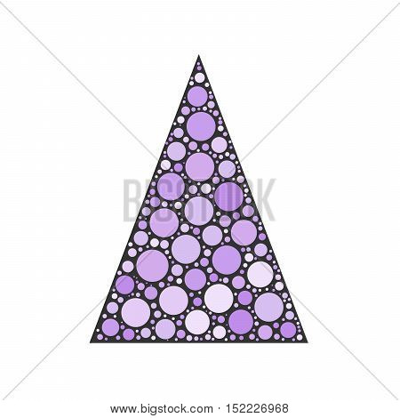 Simple abstract chrismas tree of violet dots, or circles, in a grey triangle shape.