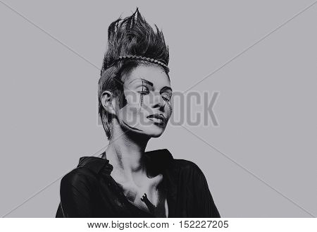 Beautiful woman with a creative chess figures make-up. Studio shot isolated