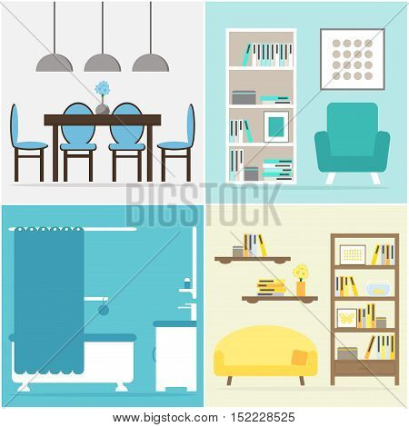 Apartment set. Apartment furniture collection. Furniture for living room, home office, dining room, kitchen, bathroom. Flat vector illustration design.