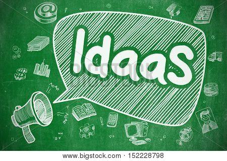 IdaaS - Identity As A Service on Speech Bubble. Cartoon Illustration of Shouting Loudspeaker. Advertising Concept.