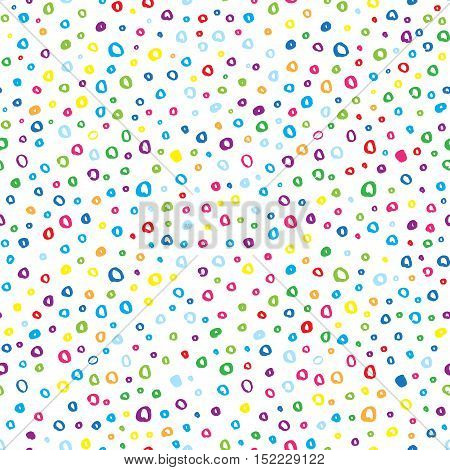 Abstract Marker Hand Drawn Multicolored Circles Vector Seamless Pattern Background.
