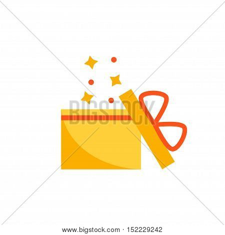 Present box isolated icon on white background. Present surprise gift. Birthday present. Flat vector illustration design.