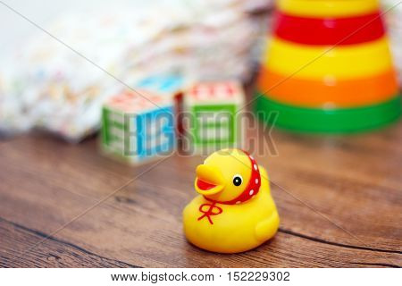 toys collection wooden train colored toys baby, yellow duckling