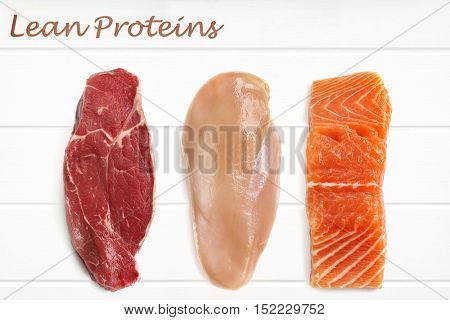 Lean proteins food background.  Red meat, chicken breast and salmon fillet over white timber.  Top View.