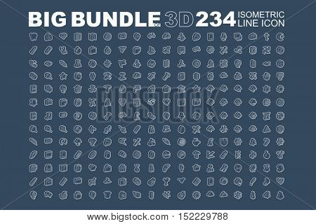 Big bundle of 3d isometric line icons, creative, education, food, industrial, media, business, medical, nature, shopping, science, sport, technology, transportation, travel, web, religion, christmas