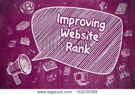 Improving Website Rank on Speech Bubble. Doodle Illustration of Yelling Loudspeaker. Advertising Concept.