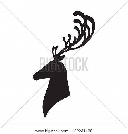 Deer head vector illustration elk silhouette isolated