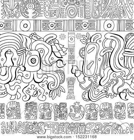 Seamless background with mayan patterns and symbols on white. Vintage adventures concept. Graphic vector illustration and doodle drawings of glyphs for coloring book, ethnic tribal pattern