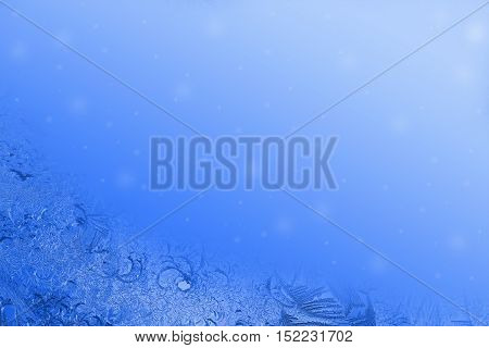 Christmas card template in blue with hoarfrost